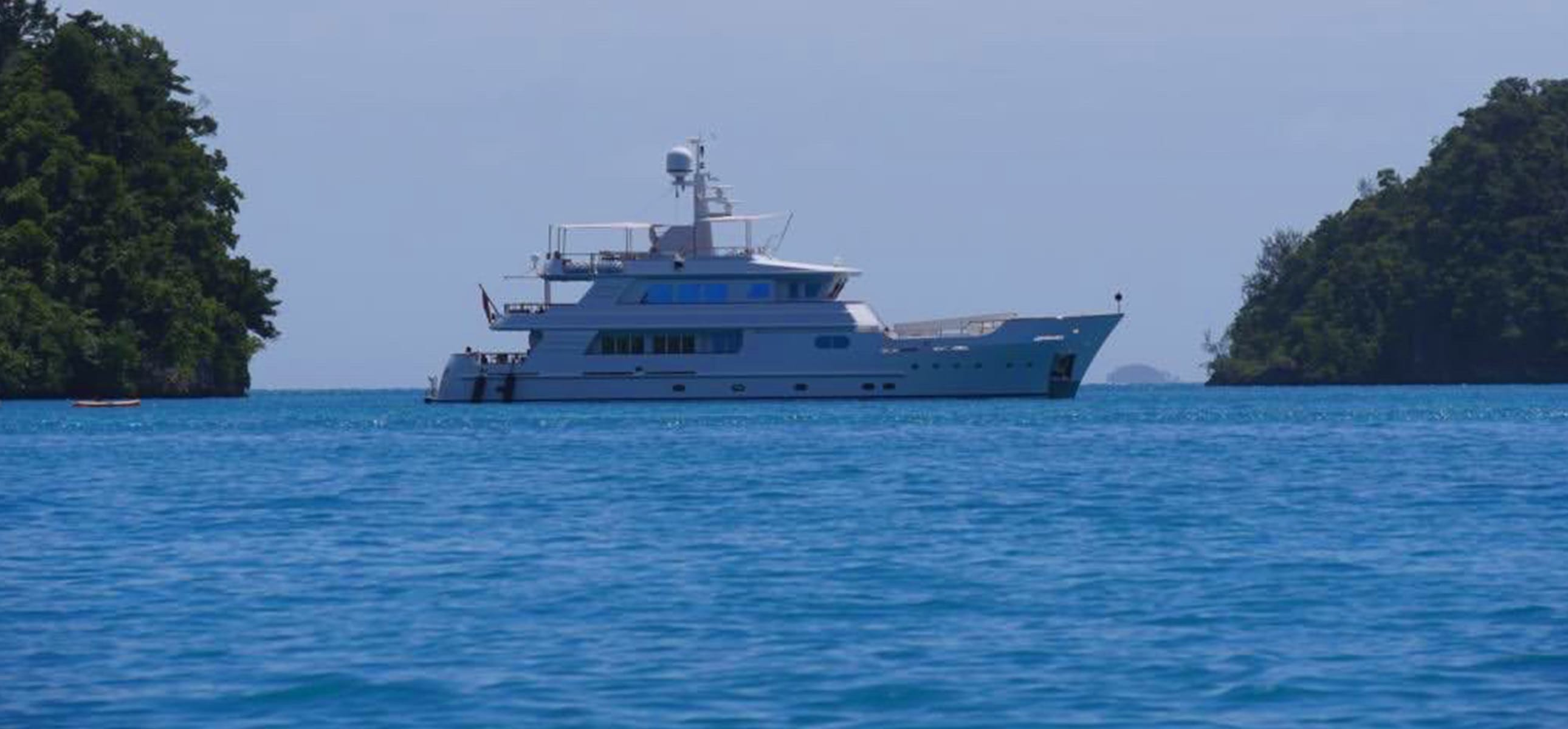 The Relentless yacht on anchor